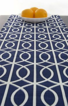 Modern Blue Table Runner 120 Inch Long   Blue And White Table Runner   Navy  Bridges