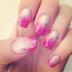 ombre pink glitter stempelwiese