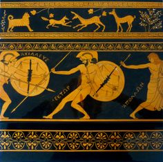 Made on order, handpainted and glazed ceramic composition of three tiles, 11th element of a wall frieze 189 inches (480 cm) long and 15.7 inches (40 cm) high. #terracotta #ceramic #greekpottery #greekpatterns #iliad #redfigures #myth #mythology #warriors  #gods #MITOliberty