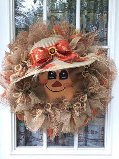 Diy Fall Wreath, Autumn Wreaths, Wreath Ideas, Halloween Wood Crafts, Fall Crafts, Fall Door Decorations, Fall Decor, Holloween Wreaths, Fall Swags