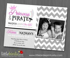 PRINCESS and PIRATE INVITATION - Twins or Dual Boy Girl Birthday Party - Chevron - Photograph Photo - Pink Grey Black. $15.00, via Etsy.