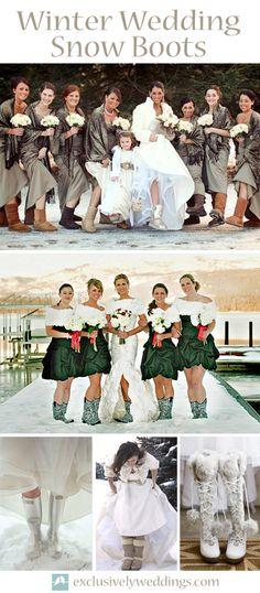 Winter Wedding Snow Boots - A pair of boots is the perfect solution for to and from the wedding venue.