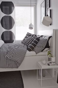 Black and white bedroom, Marimekko design, Innolux Pasila lamp, Hay Tray table Monochrome Bedroom, White Bedroom, Dream Bedroom, Master Bedroom, Bedroom Decor, Hay Tray Table, Marimekko, Stylish Bedroom, Interior Exterior