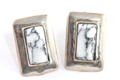 Vintage Navajo Sterling Silver White Buffalo Turquoise Pireced Post Earrings