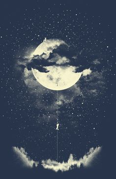 Moon Climbing Art Print - by Los Tomatos : Inspiration Art, Moon Art, Moon Phases Art, Nocturne, Oeuvre D'art, Amazing Art, Awesome, Fantasy Art, Art Drawings