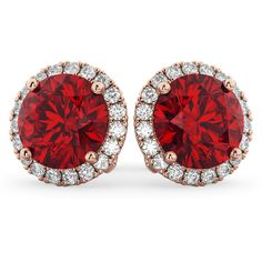 Allurez Halo Round Ruby & Diamond Earrings 14k Rose Gold (5.17ct) ($12,060) ❤ liked on Polyvore featuring jewelry, earrings, jewelry & glasses, 14 karat gold stud earrings, 14k stud earrings, holiday earrings, earring jewelry and diamond earrings