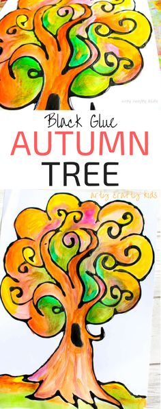 Arty Crafty Kids | Art | Autumn Crafts for Kids | Black Glue Autumn Tree Art | A beautiful and easy Autumn art project for kids that explores autumn colors within a black glue resist medium. #Autumncraftsforkids #kidscrafts #falltrees #easyartideas