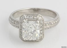 2.35ctw Genuine Diamond Halo Engagement Ring - Platinum Radiant Solitaire 7.9g