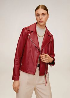 nappa leather Biker design Short design Lapel-collar Loops on the shoulders Two zip pockets on the front Long sleeves with zipped cuff Asymmetric zip fastening Inner lining Mango Clothing, Mode Rock, Sweater Boots, Basic Outfits, Blazer, Two Piece Outfit, Loungewear, Star Fashion, Mtv