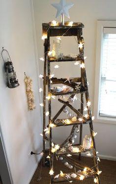 christmas craft: diy coastal glitter christmas trees | christmas