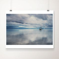 lake tahoe photograph, boat photograph, landscape photography, mountains, reflection, water, california, blue, pastel, storm, clouds