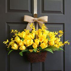 spring tulips wreath yellow tulips forsythia wreaths by aniamelisa, $79.00