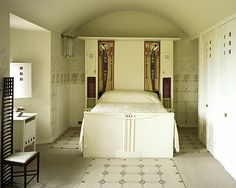 Bedroom, the Hill House. Designed by Charles Rennie Mackintosh.