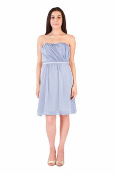 short sky blue sweetheart strapless chiffon dress