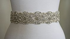SILVER Wedding Belt Sash, Customizable, Every Color of Ribbon, Bridal Belt, Bridal Sash, Crystal Rhinestone Sash, Satin Sash