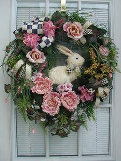 Spring Easter Rabbit Berries Pink Mackenzie Childs Ribbon Floral Door Wreath | eBay