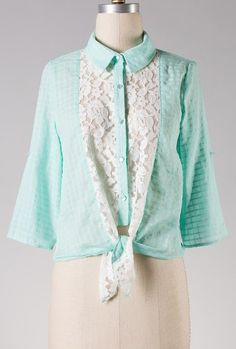 Sincerely Sweet mint Lace Inserted Button Blouse
