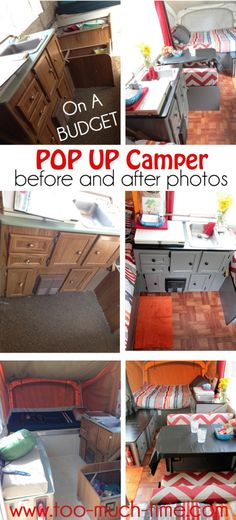 Pop Up Camper Renovation on a BUDGET- thrifty and fun redo of a 1990 Coleman camper trailer