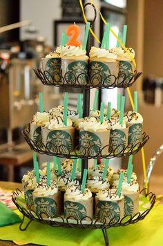 A cute Birthday Party idea using Starbucks sleeves around cupcakes! 13th Birthday Parties, Birthday Party For Teens, Birthday Party Themes, 12 Year Old Birthday Party Ideas, 13 Birthday, Birthday Coffee, Starbucks Cupcakes, Starbucks Birthday Party, Snacks Für Party