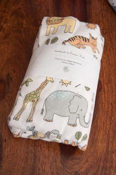 Handmade Wild Animals Fitted Cot Sheet by HandmadeByEmmaKate on Etsy https://www.etsy.com/au/listing/277629356/handmade-wild-animals-fitted-cot-sheet