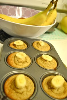 banana oatmeal muffins made with oatmeal, yogurt, eggs, and bananas! no flour