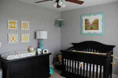 Paint Color: Benjamin Moore San Antonio Grey     Bedding and Changing Pad Cover: NurseryDreams from Etsy  http://www.etsy.com/shop/NurseryDreams?ref=ss_profile