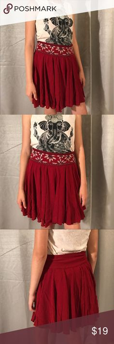 ALYA red boho/gypsy style skirt Really cute skirt, brand Alya made in India. Skirt is lined and has very cute embroidery detail. Size S Skirts Mini