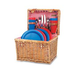 Elegantly designed, this Oxford wine basket from Picnic Time is great for picnics, concerts, and traveling. Fabricated from willow, it has premium leatherette accents and cotton lining in traditional quilted red and white gingham.