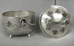 Navajo Sterling Silver Miniature Kettle marked EMW : Lot 1174
