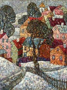 'Snow Covered Village', by Nadezhda Stupina (Russian, Menton France, Landscape Art Quilts, House Quilts, Arte Popular, Fabric Art, Mosaic Art, Figure Painting, Textile Art, Fiber Art