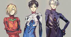 もしもフィギュアスケートアニメ『ユーリ!!! on ICE』のキャラクターがアニメ『新世紀エヴァンゲリオン』のパイロットスーツを着てみたらこうなるというイラストがこちら。勝生勇利が碇シンジ、ヴィクトルが渚カヲル、ユリオがアスカのプラグスーツを着ておりキャラの性格もぴったりだと驚きの声が広がっています。