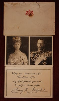 Christmas card from King George V and Queen Mary on the first Christmas of World War One,1914