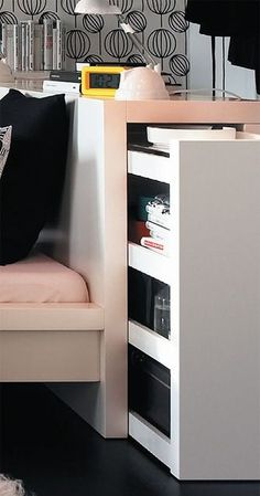 ikea MALM bed with pull-out headboard. Ikea Headboard, Headboards For Beds, Storage Headboard, Cama Malm Ikea, Home Bedroom, Bedroom Decor, Bedrooms, Space Saving Furniture, Living Room Sofa