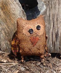 Adorable Stuffed Owl  Primitive Craft by BeaverBoutiquePrim, $10.00