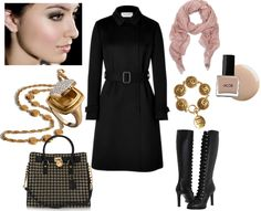 Valentino Black Wool & Cashmere Long Coat, Alexander McQueen Lace Up Boot, Michael Kors Hamilton Eyelet Tote, Wendy Brandes Medici Poison Ring, Chanel Vintage Coin Jewelery, Mulberry Psychedelic Tree Scarf
