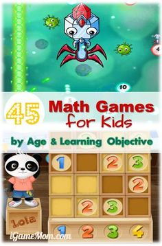 45 Math Game Apps for Kids by Age and Learning Objective, counting, numbers, addition, subtraction, multiplication, division, math word problems, and more.