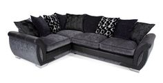 Right side corner style sofa in dark grey/black  Longer side to go under the window with the corner on the outside by the front door  Look for cheaper ones similar to this!!