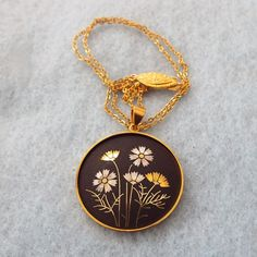 AMITA Damascene Pendant Necklace, Beautiful!