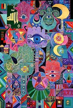 Magical Symbols, 1992 (acrylic on canvas - Laila Shawa as art print or hand painted oil. Hamsa Art, Middle Eastern Art, Arabian Art, Pop Art Wallpaper, Arte Tribal, Turkish Art, Jewish Art, Egyptian Art, Islamic Art