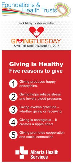 Don't forget about Giving Tuesday this holiday season. It's good for your health!