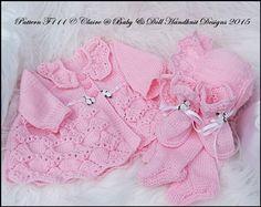 "Traditional Matinee Set 16-22"" doll (preemie-3m+ baby)-knitting pattern, matinee coat, leggings, baby, doll, reborn, babydoll handknit designs"