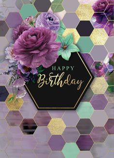 Happy birthday purple bouquet with honeycomb / hexagon background meme / . Happy birthday purple bouquet with honeycomb / hexagon background meme / . Happy Birthday Wishes Cards, Happy Birthday Wallpaper, Happy Birthday Photos, Birthday Blessings, Birthday Wishes Flowers, Happy Birthday Flower, Purple Happy Birthday, Happy Birthday For Her, 21 Birthday