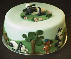 """The basic idea for Tiff's """"Shaun the Sheep"""" b-day cake.  We'll see how closely mine resembles this one......"""