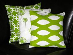 Etsy on Pillows. Apple Green & White. Decorative Pillows TRIO ikat, chain link, dandelion 20x20 inch Throw Pillow Covers chartreuse 20 Lime Green & White