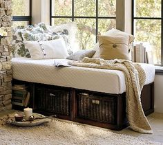 $1,199 each (get 2 for sunroom) but has storage, is smaller than other daybeds  will accomodate a regular twin mattress) Stratton Daybed with Baskets #potterybarn