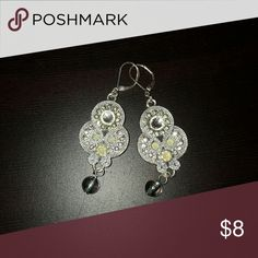 Earrings Silver dangling earrings with pale green and clear stones Jewelry Earrings