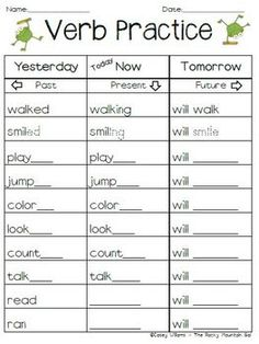 Verb Practice - Past, Present, Future Tense This is a simple practice sheet for verb tenses. Grammar Activities, Teaching Grammar, Teaching Language Arts, Grammar Lessons, Speech Language Therapy, Language Activities, Teaching Writing, Speech And Language, Teaching English