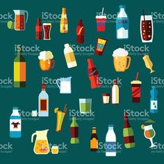 Beverages, cocktails and drinks flat icons royalty-free stock vector art