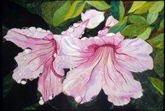 Rain Drops by Melinda Bula.  Flower art quilt.  Photo by Sue Garman 2011: Spring Has Sprung!