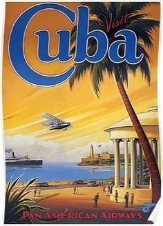 Pacifica Island Art Visit Cuba - Pan American Airways (PAA) - Havana Bay - Morro Cabana - Vintage Style Airline Travel Poster by Kerne Erickson - Master Art Print - 13 x Old Posters, Retro Poster, Poster Print, Vintage Travel Posters, Poster Poster, Poster Wall, Vintage Cuba, Photo Vintage, Vintage Style